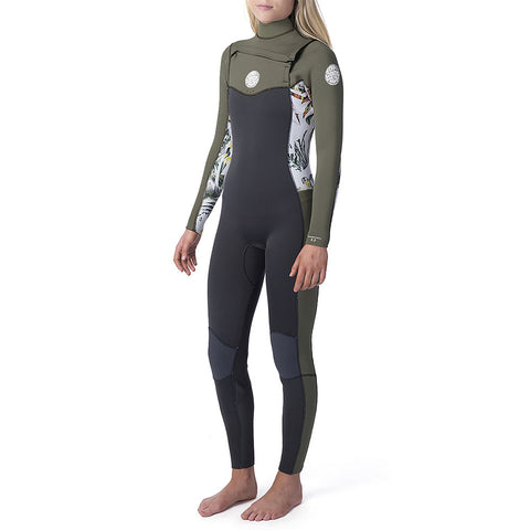 Rip Curl Womens Dawn Patrol 3/2mm Chest Zip Full Wetsuit - White
