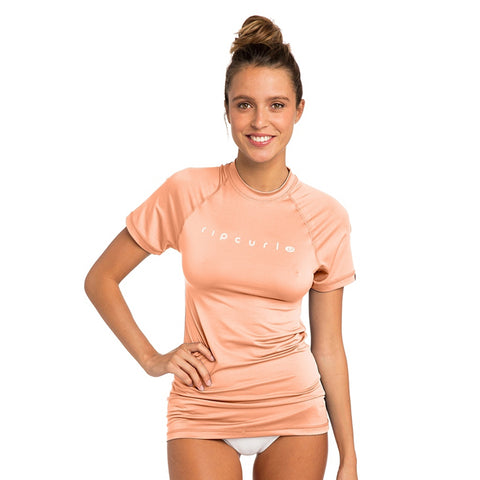 Rip Curl Womens Sunny Rays Relaxed Short Sleeved UV Tee - Peach