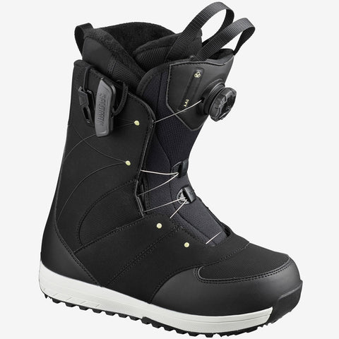 Salomon Womens Ivy BOA Snowboard Boots - Black/Black/Pale Lime