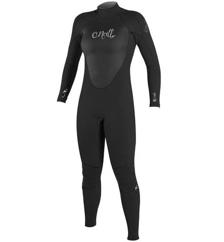 O'Neill Womens Epic 4/3 Back Zip Full Wetsuit - Black/Black/Black