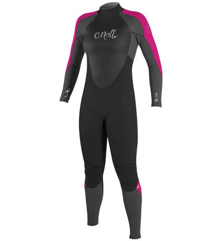O'Neill Womens Epic 4/3 Back Zip Full Wetsuit - Black/Graphite/B