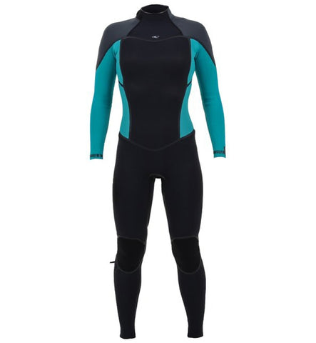 O'Neill Womens Psycho One 4/3 Back Zip Full Wetsuit - Black/Capri