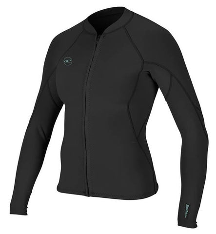 O'Neill Womens Reactor 2 1.5mm FZ Wetsuit Jacket - Black/Black
