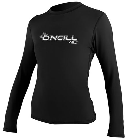 O'Neill Womens Basic Skins Long Sleeved Sun Shirt - Black