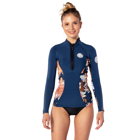 Rip Curl Womens GBomb 1mm Long Sleeved Front Zip Wetsuit Jacket - Navy