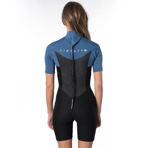 Rip Curl Womens Omega 1.5mm Back Zip Shortie Wetsuit - Blue