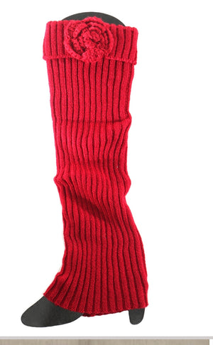 Burgundy Tall Boot Sock with Flowerette