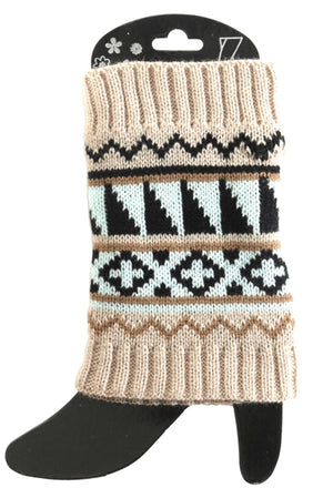 Tan / Mint sweater short boot cuff