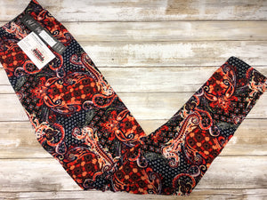 Legging Red/Black Paisley (Buttery Soft)