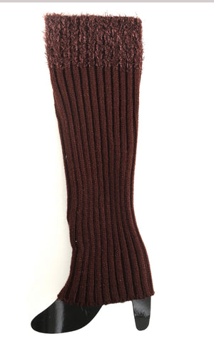 Tall Brown Boot Sock with Fuzzy Top
