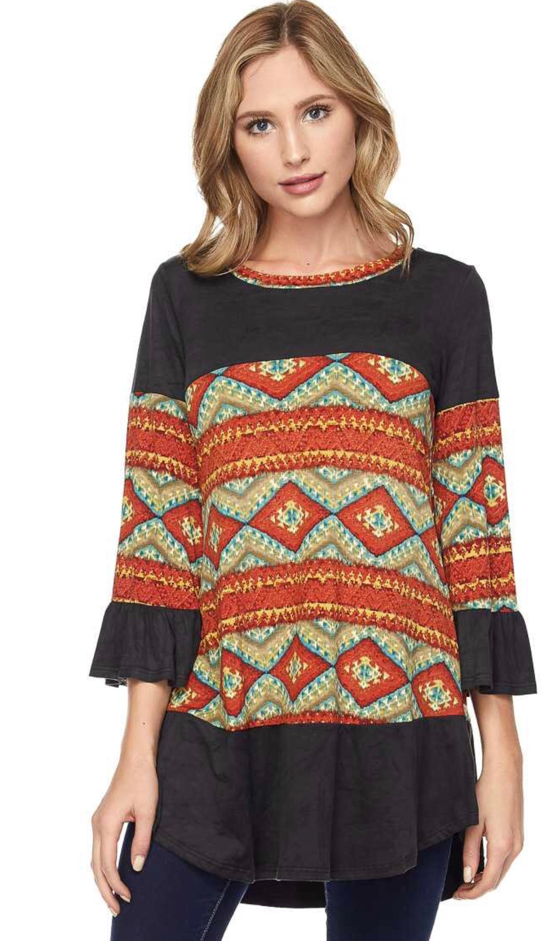 Aztec Tunic with Suede Accent