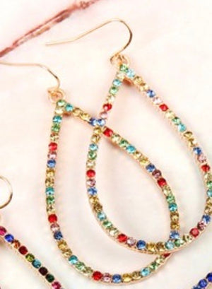 Light Multi Color Tear Drop Earrings