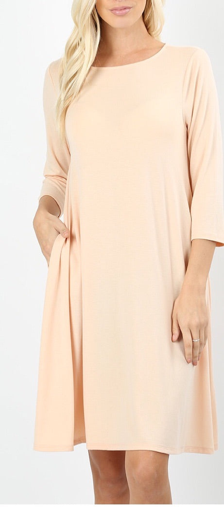 Sand 3/4 length tunic with pockets