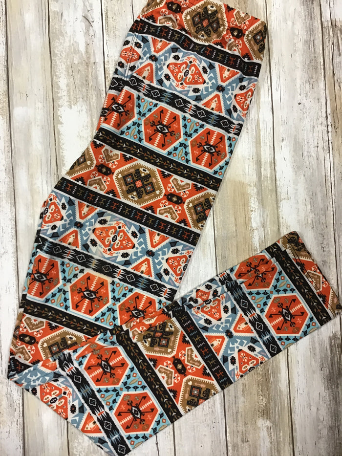 Leggings Orange Aztec (Buttery Soft)