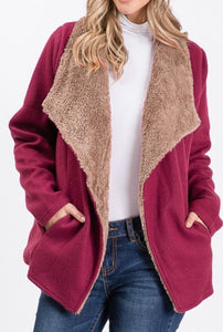 Burgundy and Tan Sherpa Lined Jacket