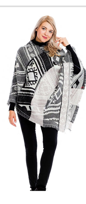 Black and White Abstract Poncho