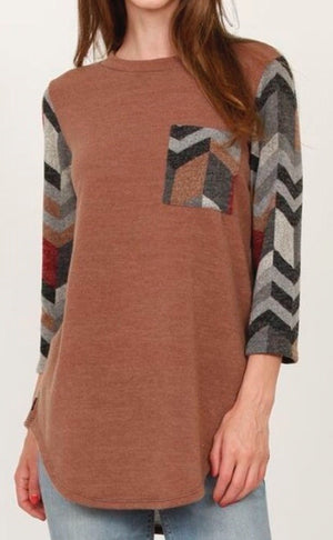 Mocha and chevron tunic