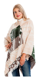 Peach Abstract Poncho