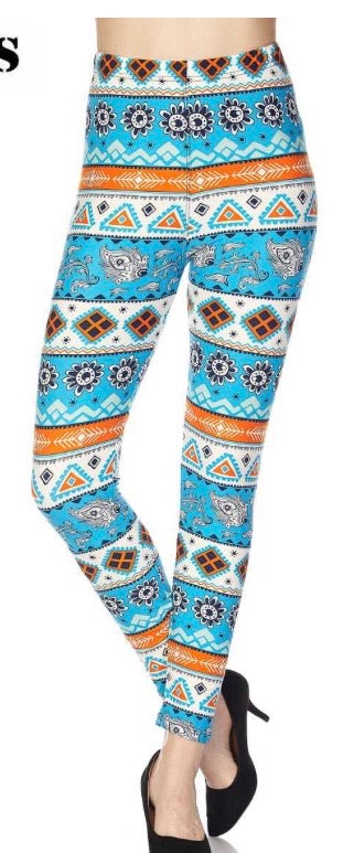 Leggings Blue Aztec