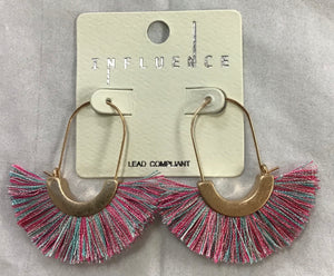 Multi-color fringed fan earring