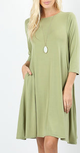 Sage 3/4 length sleeve Tunic with pockets