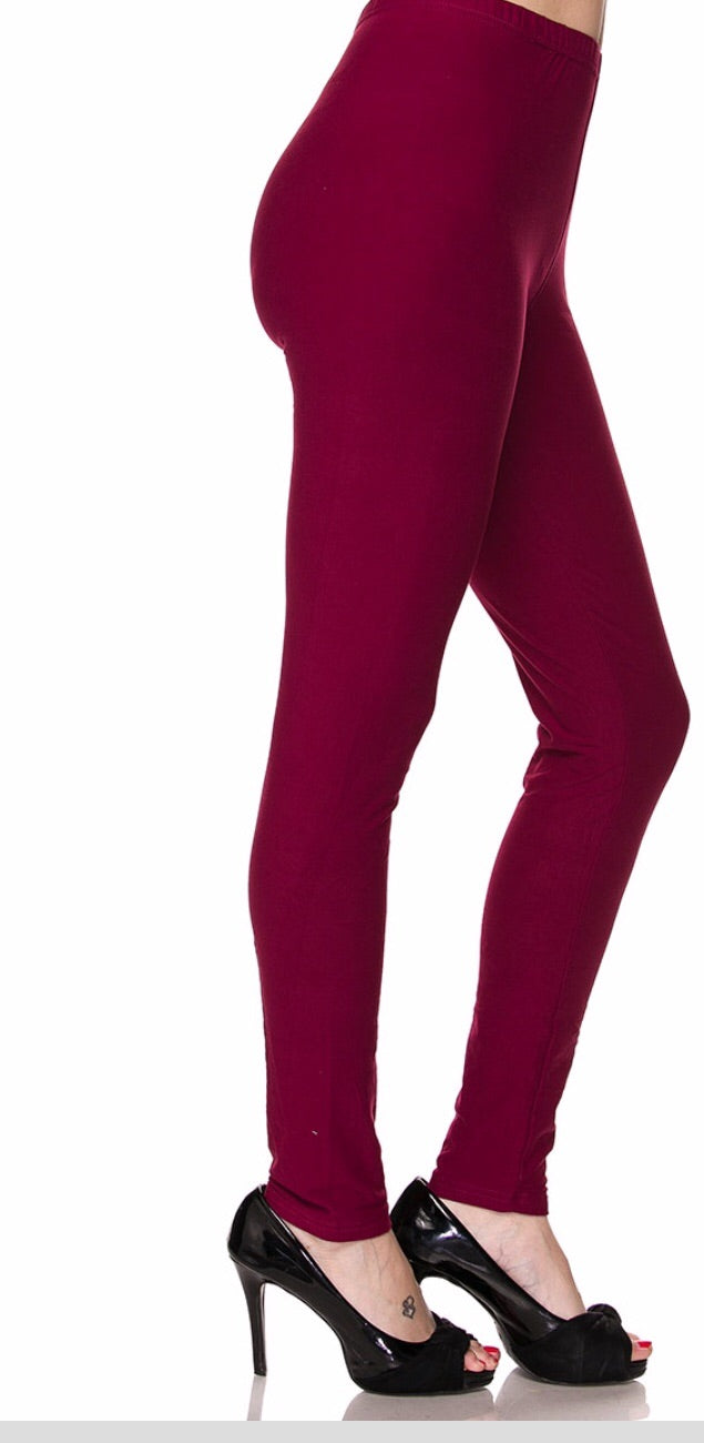 Leggings Solid Burgundy (Buttery Soft)
