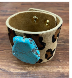 Leather leopard and turquoise cuff bracelet