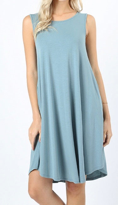 Blue Gray Sleeveless Tunic