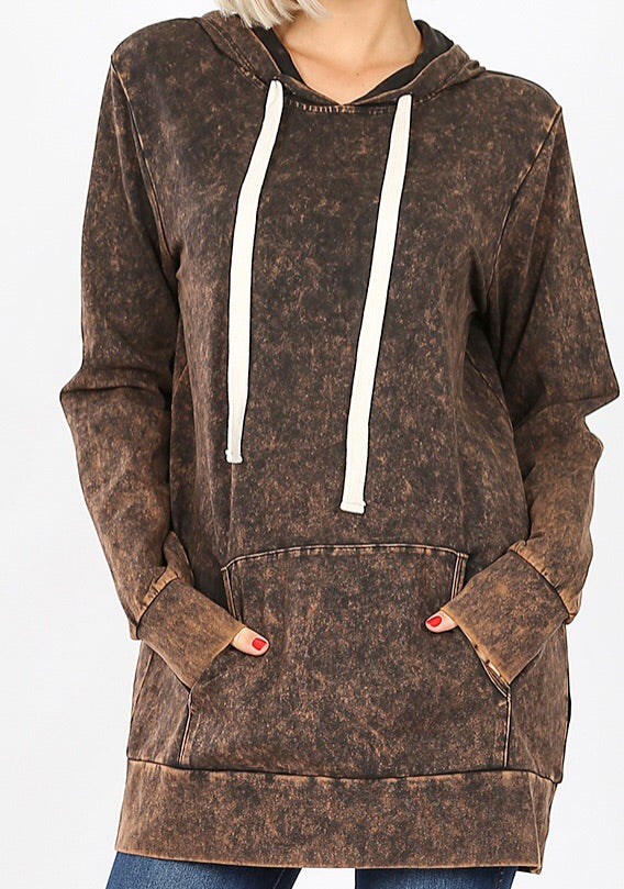 Brown Mineral Washed Sweat Shirt