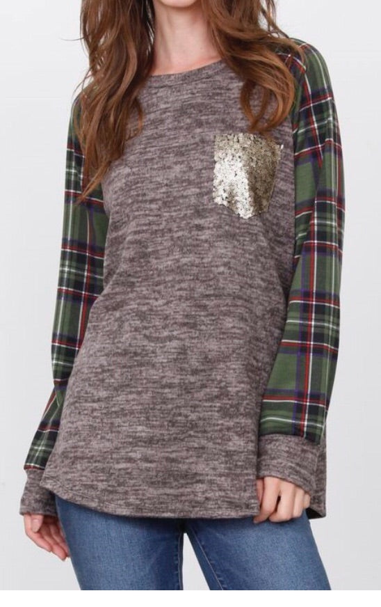 Mocha Tunic with green plaid sleeves sequin pocket