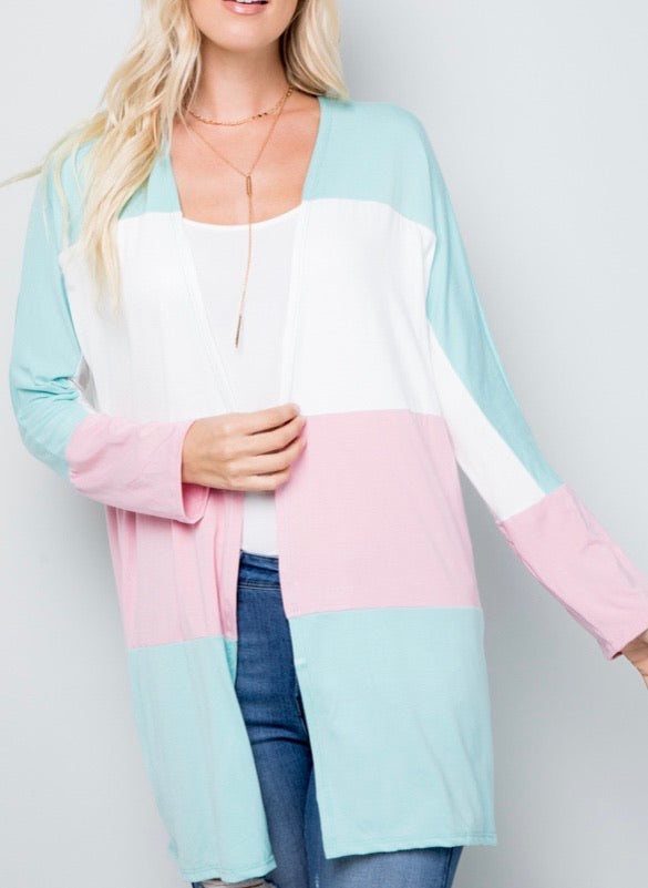 Pastel Color Block Cardigan