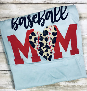 Baseball Mom Cheetah Heart