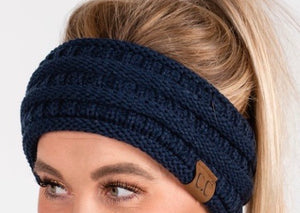 CC Cable Knit Headband Navy