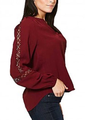 Burgundy Solid V Neck