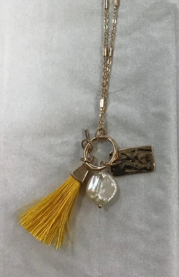 "32"" Mustard Tassel Necklace"