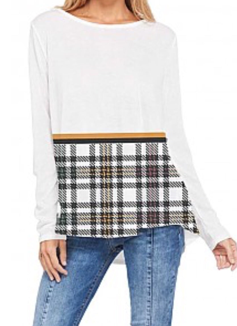 Plaid bottom tunic