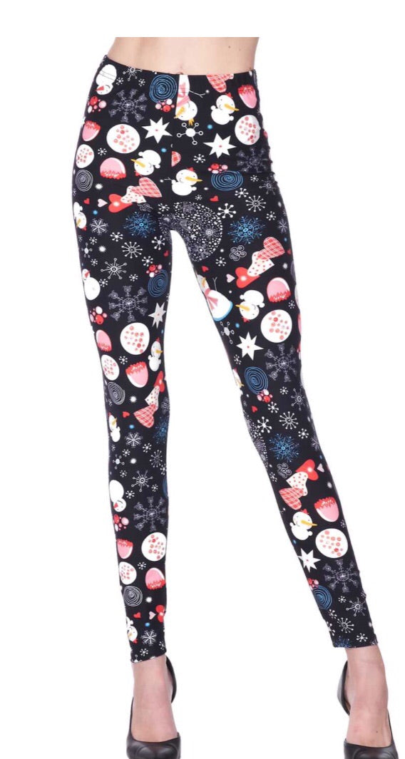 Leggings Heart and Snowman (Buttery Soft)