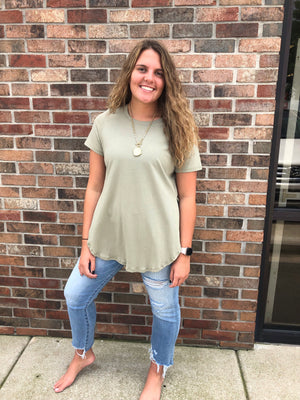 Olive Hi-Low Side Slit Tunic