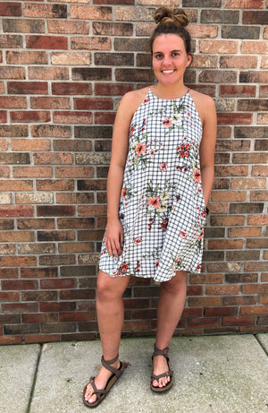 Checkered Floral Dress