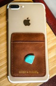 Brown Phone Pocket Holder with turquoise