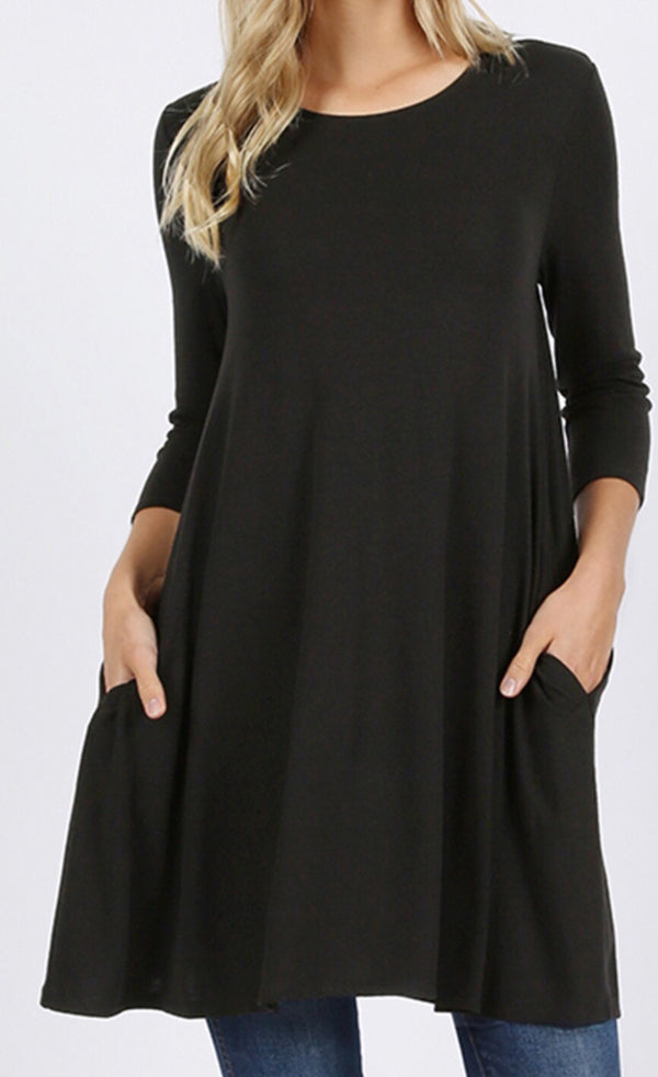 3/4 length sleeve tunic with pockets black