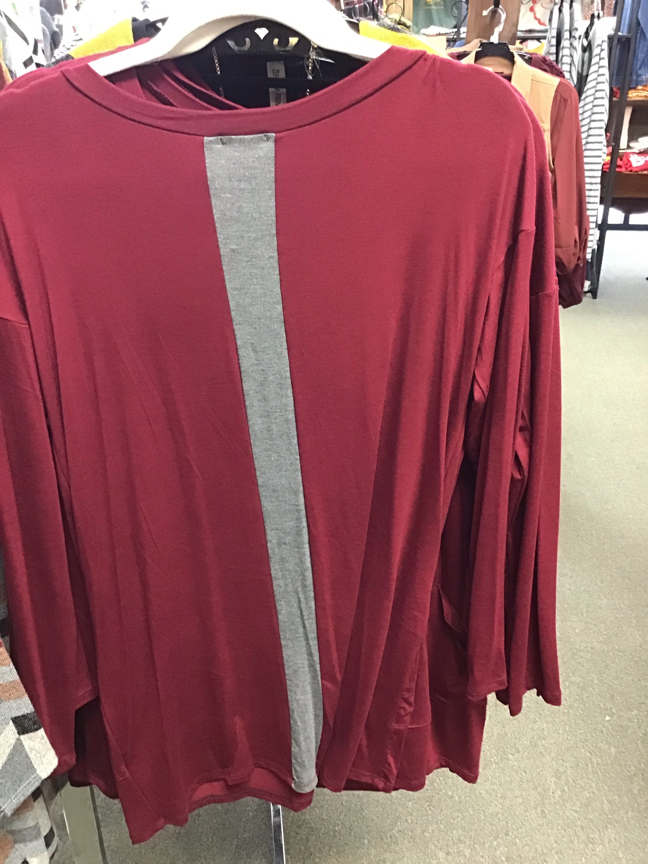 Maroon Tunic with Grey Back Stripe