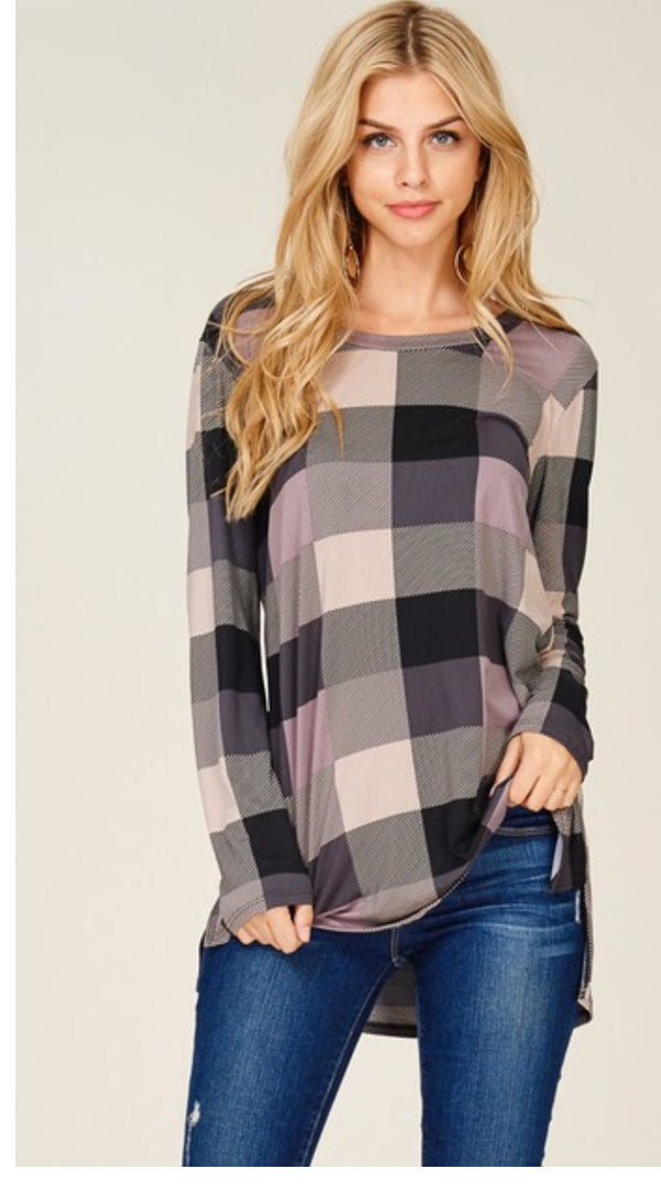 Taupe plaid Tunic