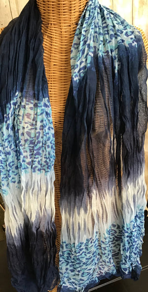 Scarf Blue Black Animal Print