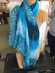 Scarf Aqua Blue Animal Print