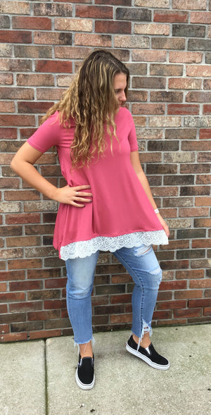 Rose Tunic with Lace Detail