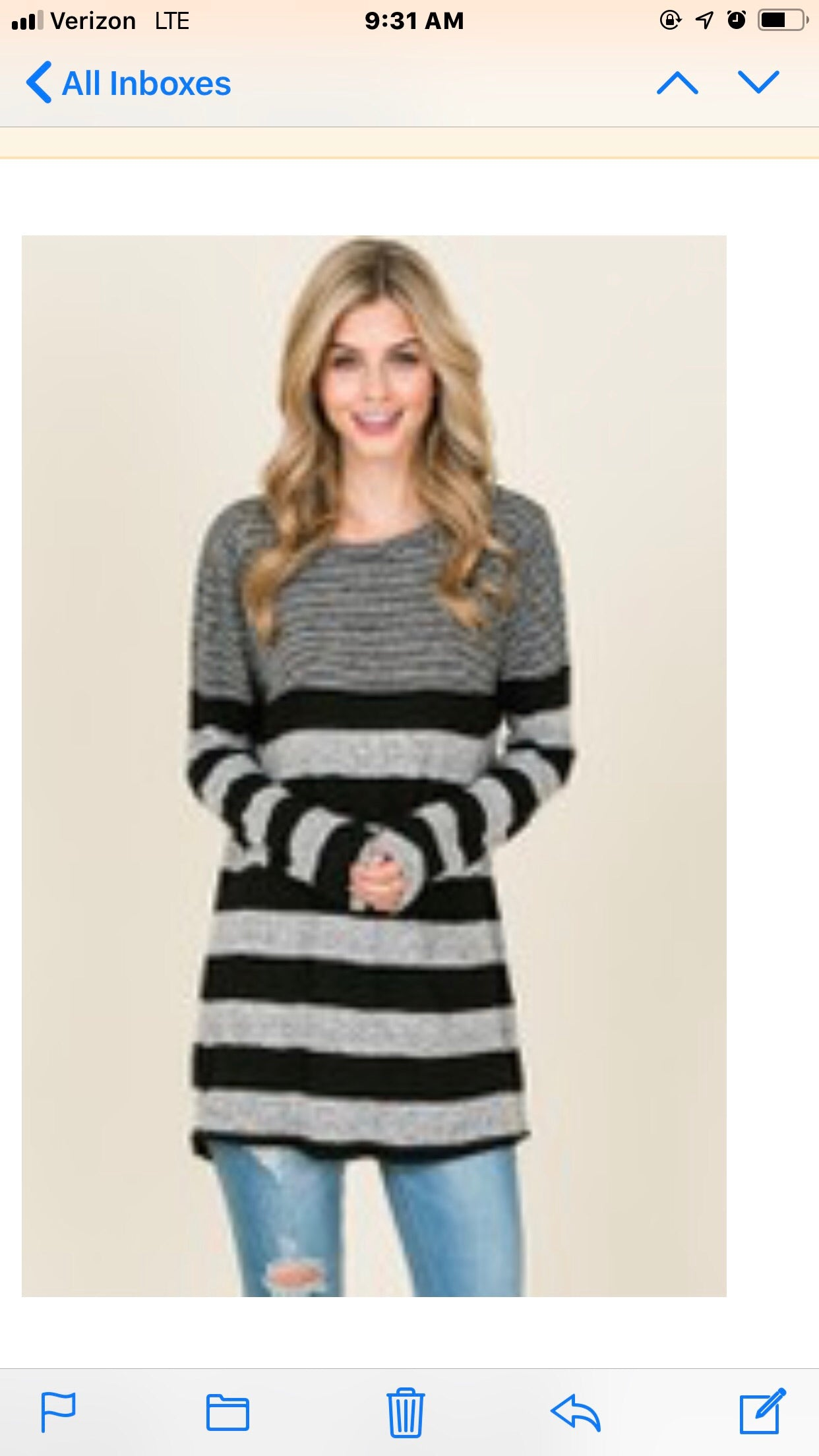 Black and grey striped tunic