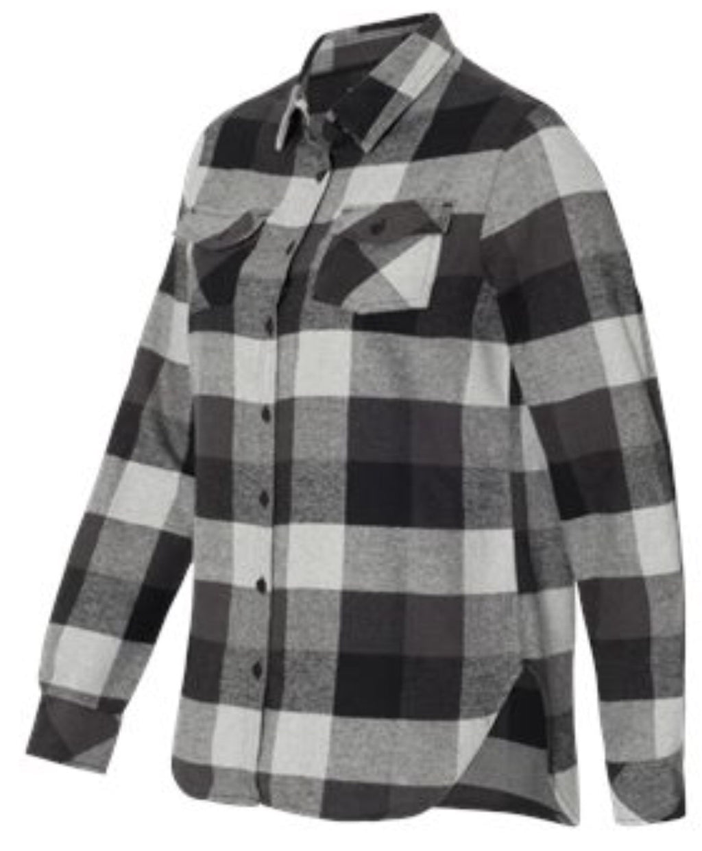 Ladies Black/Gray Buffalo Plaid Flannel