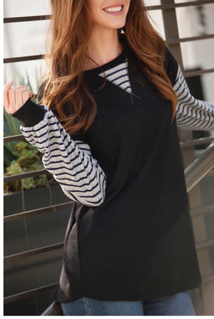 Black Tunic W/ striped sleeve