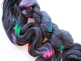 BLACK BUTTERFLY on Sparkly Merino Sock Yarn